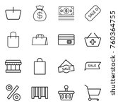 thin line icon set   basket ... | Shutterstock .eps vector #760364755