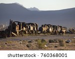 locomotives stabled near uyuni | Shutterstock . vector #760368001