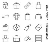 thin line icon set   money gift ... | Shutterstock .eps vector #760374985