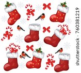 holiday pattern with christmas... | Shutterstock .eps vector #760381219
