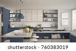 modern wooden kitchen with... | Shutterstock . vector #760383019