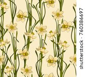 seamless floral narcissus...   Shutterstock . vector #760386697