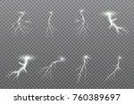 set of lightnings. thunder... | Shutterstock .eps vector #760389697
