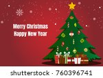 merry christmas and happy new... | Shutterstock .eps vector #760396741