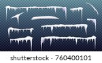 set of snow icicles isolated on ... | Shutterstock .eps vector #760400101