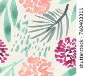 seamless watercolor pattern on... | Shutterstock . vector #760403311