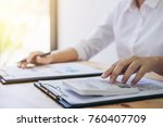 female accountant calculations... | Shutterstock . vector #760407709