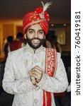 handsome bearded indian gromm... | Shutterstock . vector #760419181