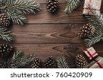 brown wood background. fir... | Shutterstock . vector #760420909