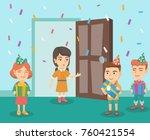 group of caucasian kids... | Shutterstock .eps vector #760421554