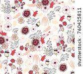 wedding handdraw flowers... | Shutterstock .eps vector #760425811
