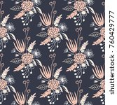 navy handraw floral pattern | Shutterstock .eps vector #760429777