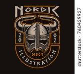 viking helmet of warrior.... | Shutterstock .eps vector #760429927