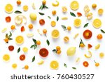 creative flat layout of fruit ... | Shutterstock . vector #760430527