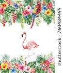 watercolor tropical floral... | Shutterstock . vector #760434499