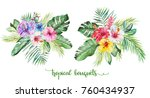 watercolor tropical floral... | Shutterstock . vector #760434937