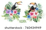 watercolor tropical floral... | Shutterstock . vector #760434949