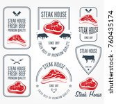 steak house and butchery labels ... | Shutterstock .eps vector #760435174