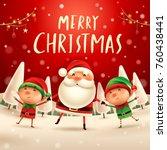 merry christmas  santa claus...   Shutterstock .eps vector #760438441