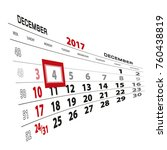 december 4  highlighted on 2017 ... | Shutterstock .eps vector #760438819