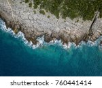 Aerial View Of Sea Waves And...