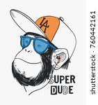 vector monkey drawing with... | Shutterstock .eps vector #760442161