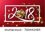 vector 2018 happy new year... | Shutterstock .eps vector #760442485