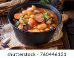 polish baked beans with sausage | Shutterstock . vector #760446121