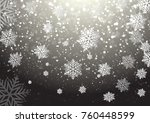 winter sky with falling snow ... | Shutterstock .eps vector #760448599