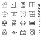 thin line icon set   table lamp ... | Shutterstock .eps vector #760453687