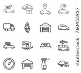 thin line icon set   eco car ...   Shutterstock .eps vector #760455937
