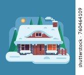snowy scene with farm winter... | Shutterstock .eps vector #760464109