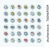 vector thin line icons set and... | Shutterstock .eps vector #760469509