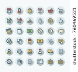 vector thin line icons set and... | Shutterstock .eps vector #760469521