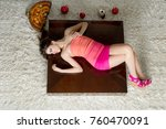 fashion women lying down with... | Shutterstock . vector #760470091