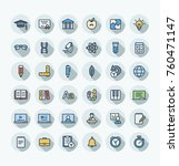 vector thin line icons set and... | Shutterstock .eps vector #760471147