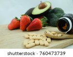 vitamins supplements in bottle... | Shutterstock . vector #760473739