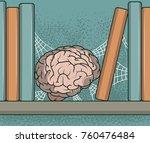 brain stored in a book shelf... | Shutterstock .eps vector #760476484