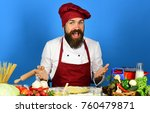 man with beard sits by... | Shutterstock . vector #760479871