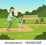 mother giving cotton candy to... | Shutterstock .eps vector #760482289