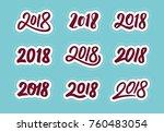 happy new year 2018. set of...   Shutterstock .eps vector #760483054