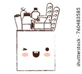 kawaii square paper bag with... | Shutterstock .eps vector #760483585