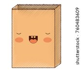 kawaii paper bag in colored... | Shutterstock .eps vector #760483609