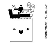 kawaii square paper bag with... | Shutterstock .eps vector #760483669