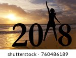 happy new year card 2018.... | Shutterstock . vector #760486189