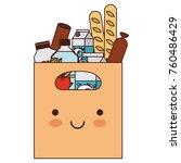 kawaii rectangular paper bag... | Shutterstock .eps vector #760486429