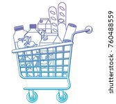 supermarket shopping cart with... | Shutterstock .eps vector #760488559