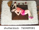 top view to lying down women | Shutterstock . vector #760489081