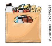 big paper bag with handle and... | Shutterstock .eps vector #760490299