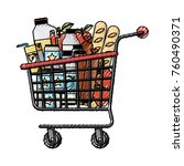 supermarket shopping cart with... | Shutterstock .eps vector #760490371